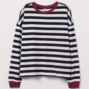H&M Minimal Striped 90s Crop Top Shirt Small